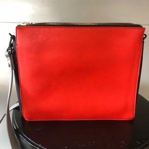 Grey and orange crossbody bag